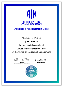 AIM Digital Certificate Advanced Presentation Skill