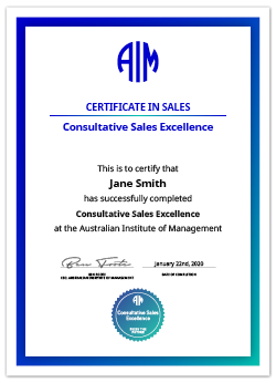 AIM Digital Certificate Consultative Sales Excellence