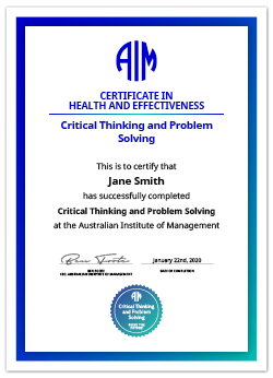 AIM Digital Certificate Critical Thinking and Problem Solving