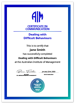 AIM Certificate Dealing with Difficult Behaviours