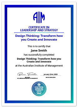 AIM Digital Certificate Design Thinking: Transform how you Create and Innovate