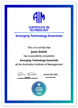 AIM Digital Certificate Emerging Technology Essentials