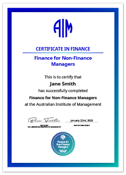 AIM Digital Certificate Finance for Non-Finance Managers