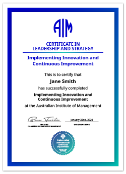 AIM Digital Certificate Implementing Innovation and Continuous Improvement