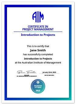 AIM Digital Certificate Introduction to Projects