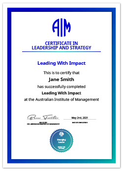 AIM Digital Certificate Leading With Impact
