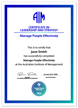 AIM Digital Certificate Manage People Effectively