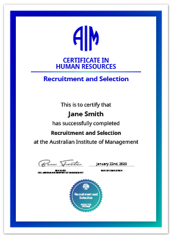 AIM Digital Certificate Recruitment and Selection