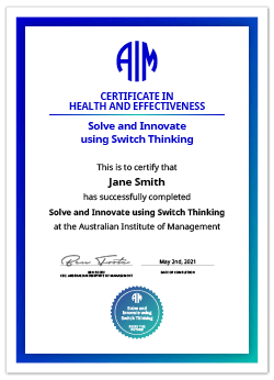AIM Digital Certificate Solve and Innovate using Switch Thinking