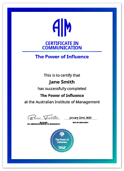 AIM Digital Certificate The Power of Influence