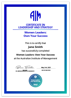 AIM Women Leaders: Own Your Success Certificate